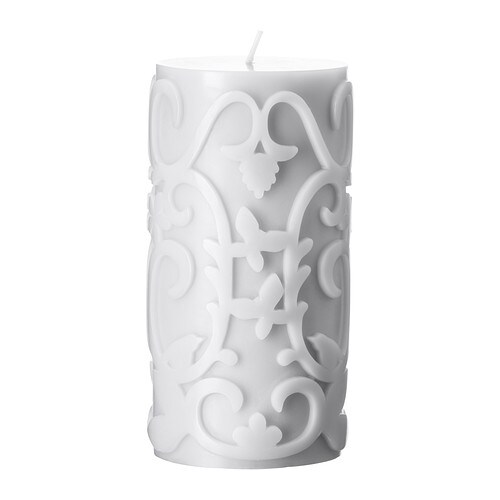 VARAKTIG Scented block candle IKEA Sweet-smelling roses and vanilla with hints of jasmine create a romantic atmosphere.