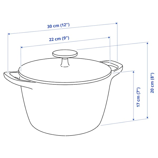 VARDAGEN Pot with lid, cast iron, 5 l