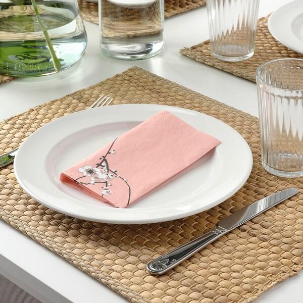 VÅRFINT Paper napkin, flower, 33x33 cm