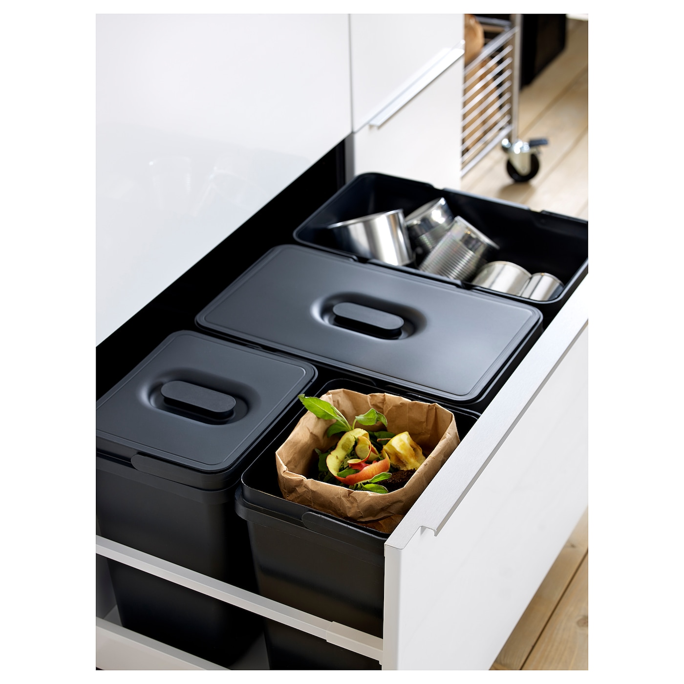High Quality IKEA VARIERA Waste Sorting Bin Rounded Corners For Easy Cleaning.
