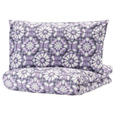 VATTENFRÄNE quilt cover and 2 pillowcases white/purple 152 /inch² 2 pack 200 cm 200 cm 50 cm 80 cm