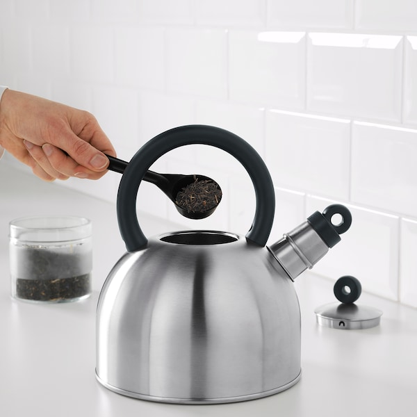 VATTENTÄT kettle stainless steel/black 2 l