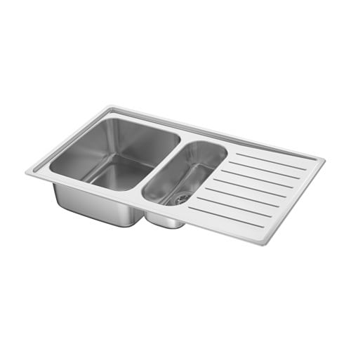 Corner Kitchen Sink Ikea : ... Inset sink, 1 ? bowl w drainboard Stainless steel 88x53 cm - IKEA
