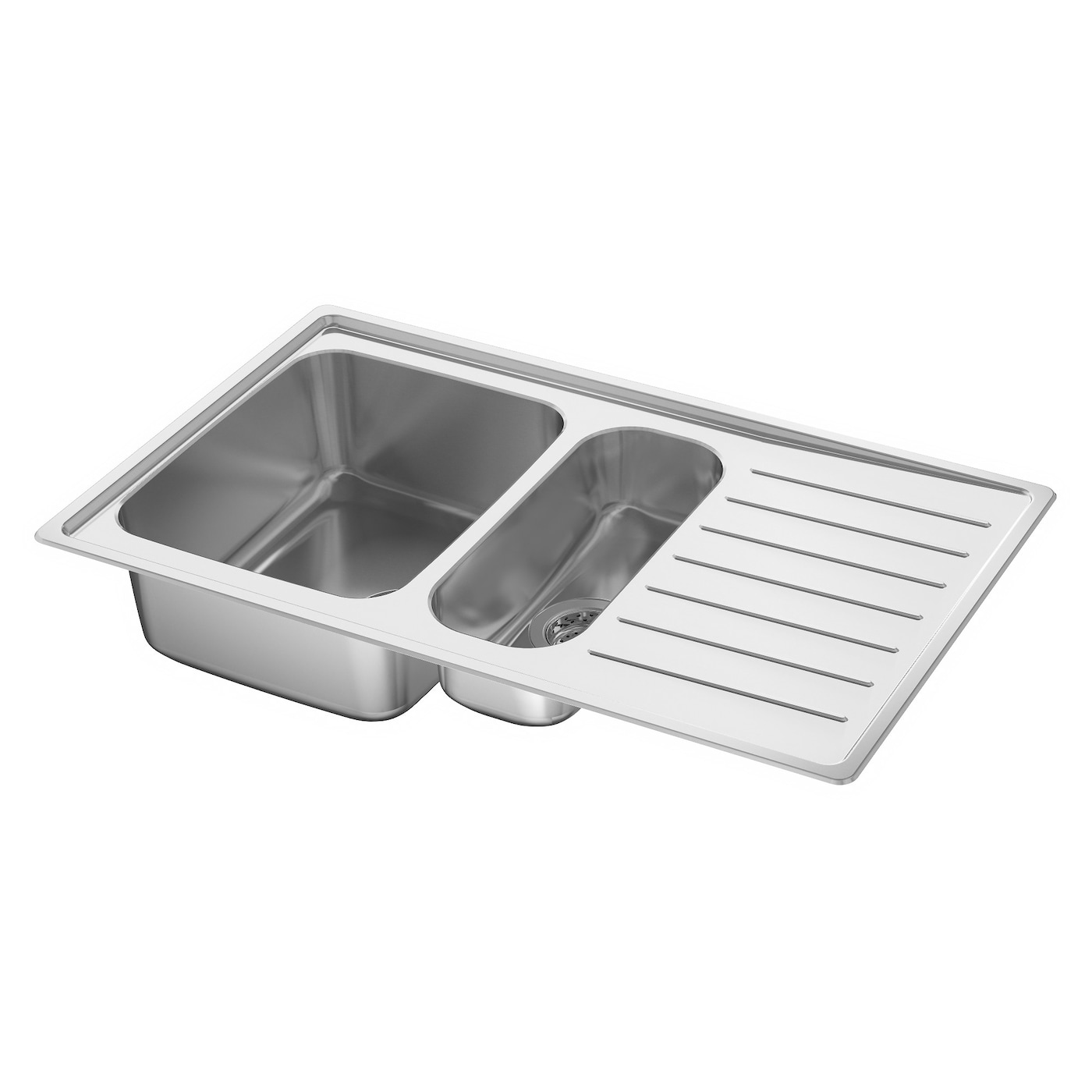 116 cm stainless steel double bowl single drainer inset sink right - Ikea Vattudalen Inset Sink 1 Bowl W Drainboard