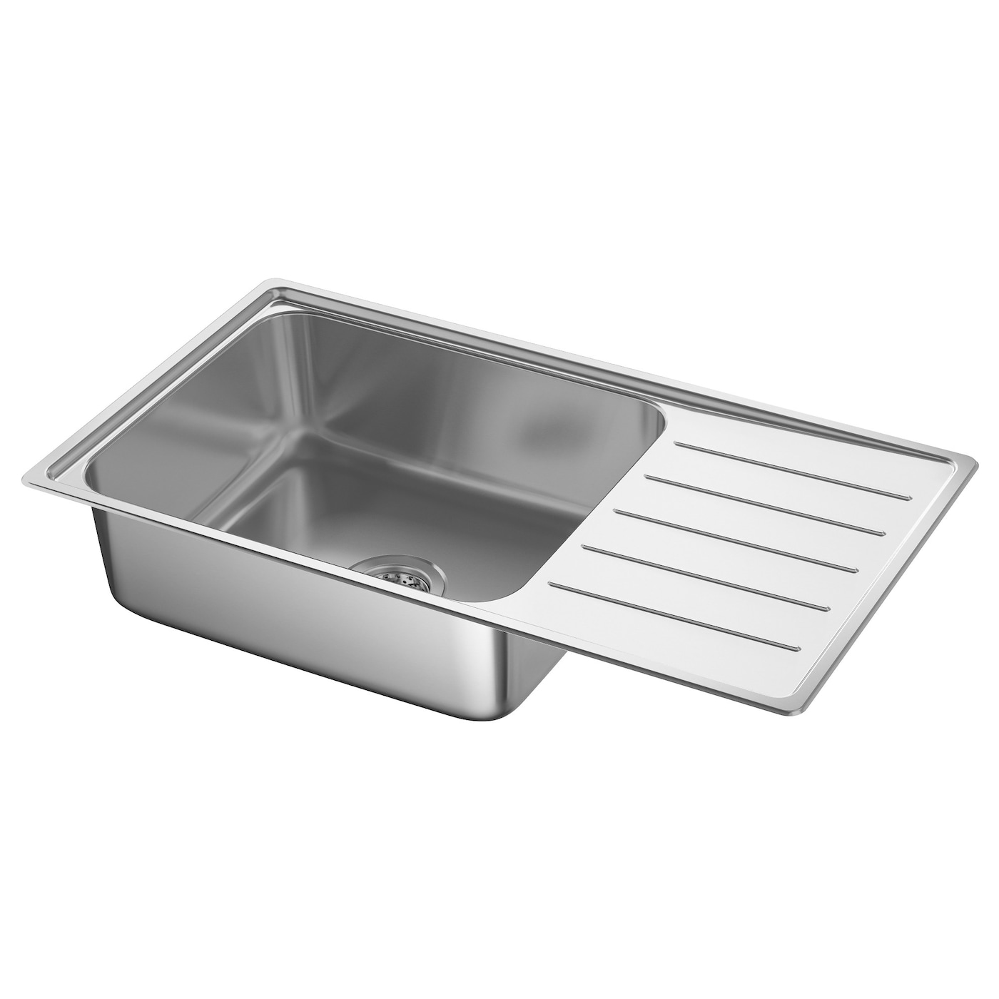 IKEA VATTUDALEN inset sink 1 bowl with drainboard  sc 1 st  Ikea & VATTUDALEN Inset sink 1 bowl with drainboard Stainless steel 86 x ...