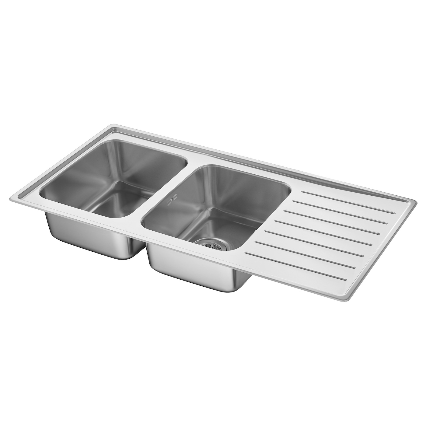 vattudalen inset sink 2 bowls with drainboard stainless steel