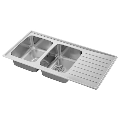VATTUDALEN Inset sink, 2 bowls with drainboard, stainless steel, 110x53 cm
