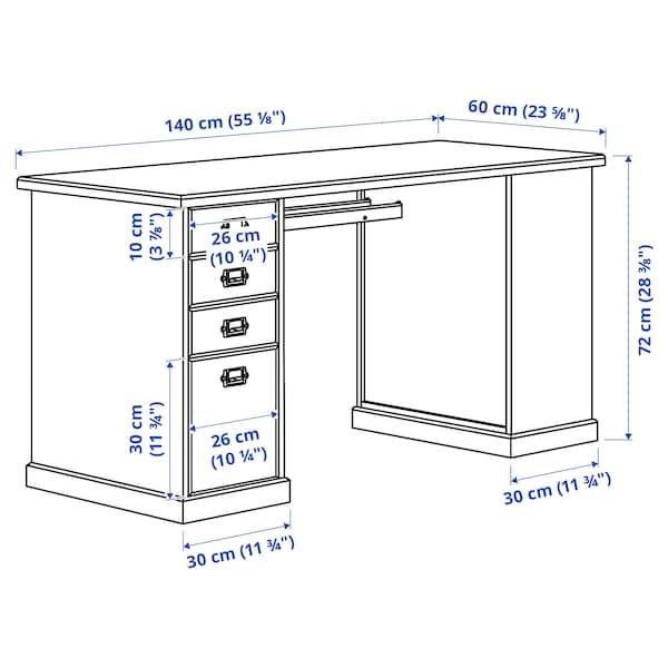 VEBJÖRN Desk, beige, 140x72 cm