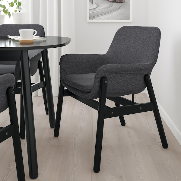 VEDBO Chair with armrests, black/Gunnared dark grey