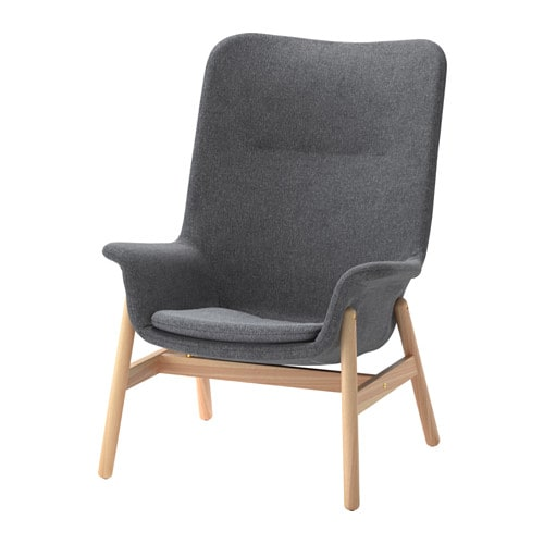 Vedbo High Back Armchair Gunnared Dark Grey Ikea