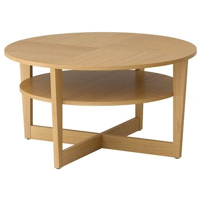 VEJMON Coffee table, oak veneer, 90 cm