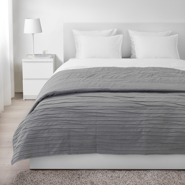 VEKETÅG Bedspread, grey, 260x250 cm