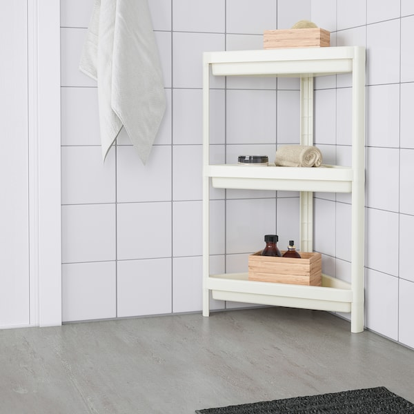VESKEN Corner shelf unit, white, 33x33x71 cm