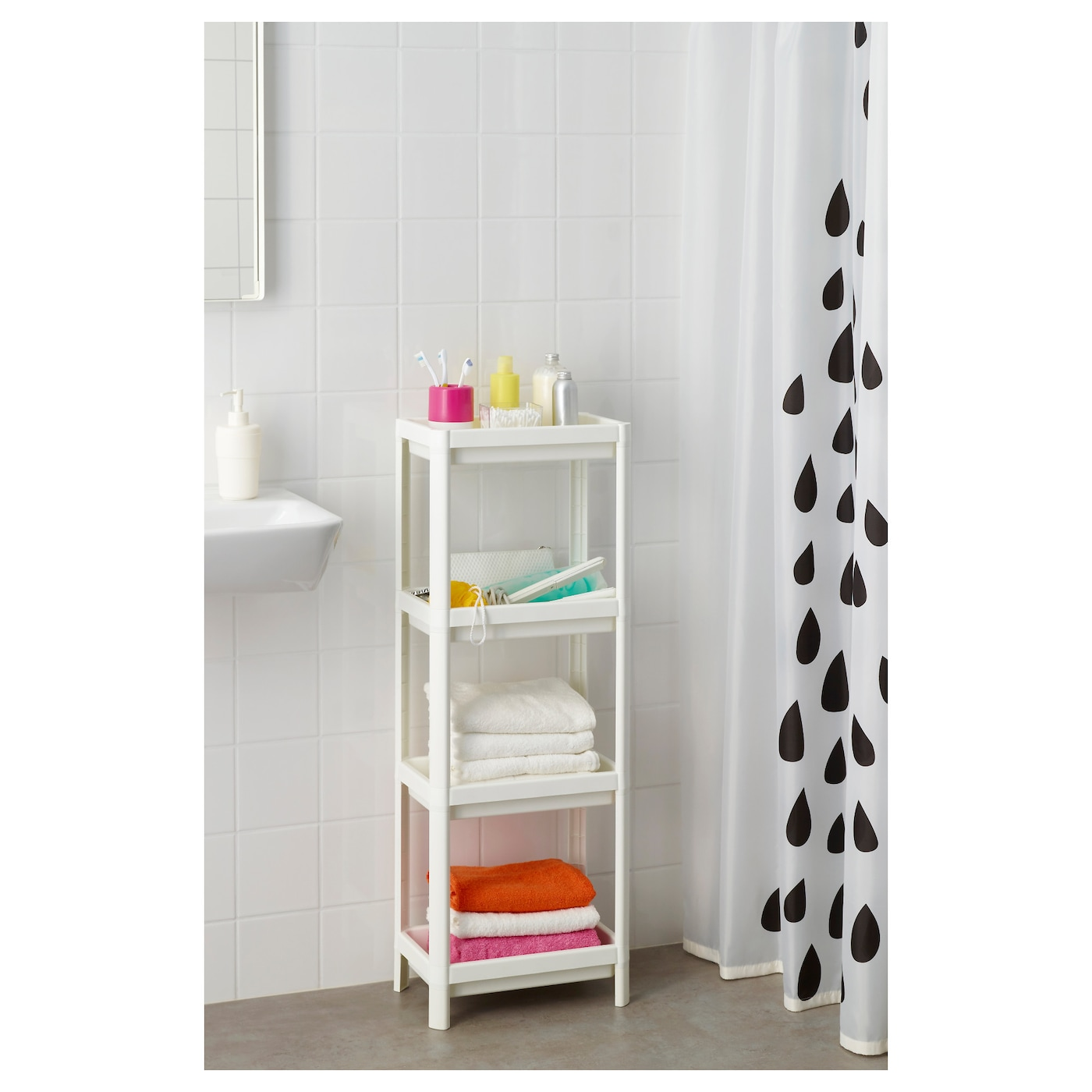 Vesken shelf unit white 36x23x100 cm ikea for Ikea shelf white