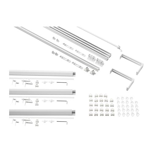 IKEA VIDGA single and triple track set The rail can be cut to the desired length with a hacksaw.