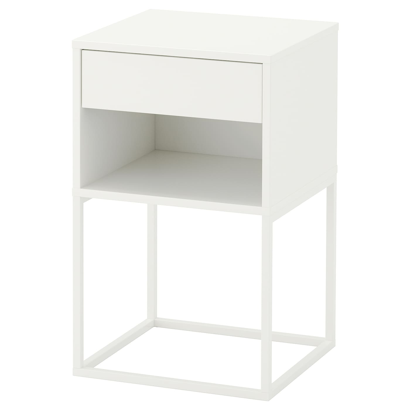 table bedside mirrored argente drawer