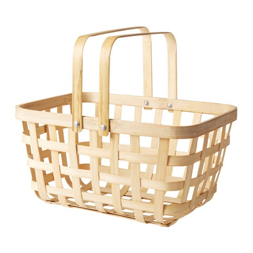IKEA VIKTIGT basket with handles Handmade by a skilled craftsman.