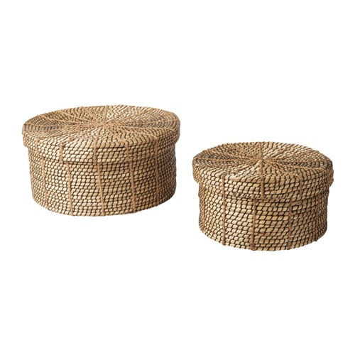 IKEA VIKTIGT basket with lid set of 2 Each basket is woven by hand and is therefore unique.