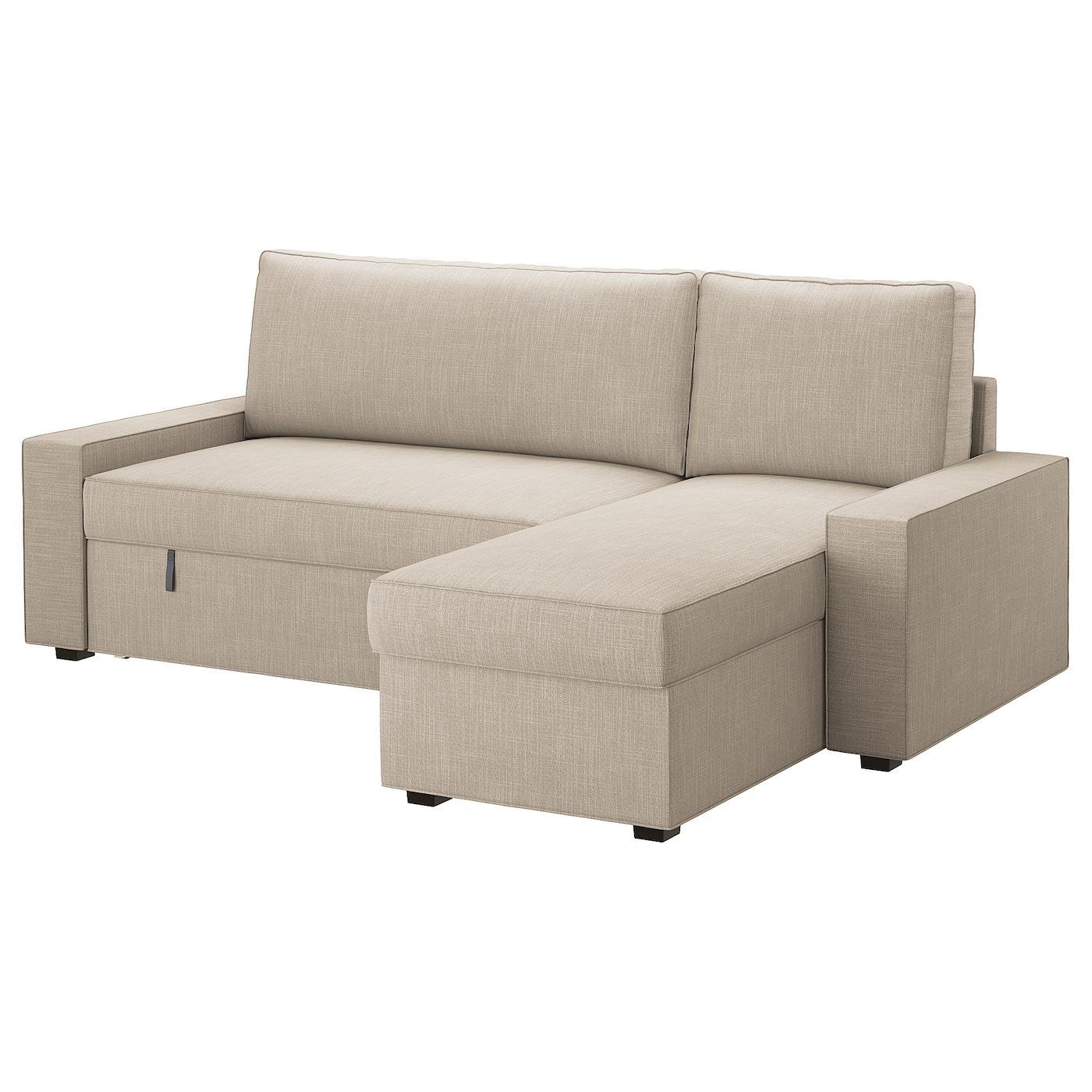 VILASUND Cover sofa bed with chaise longue Hillared beige IKEA