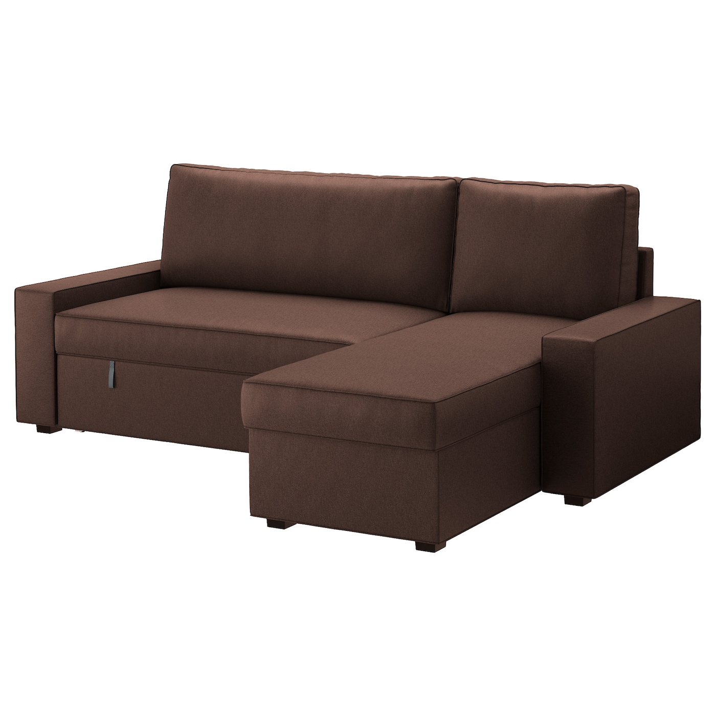 Vilasund sofa bed with chaise longue borred dark brown ikea for Brown couch with chaise