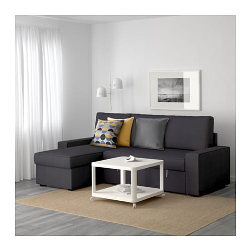 Vilasund sofa bed with chaise longue dansbo dark grey ikea for Chaise longue sofabed