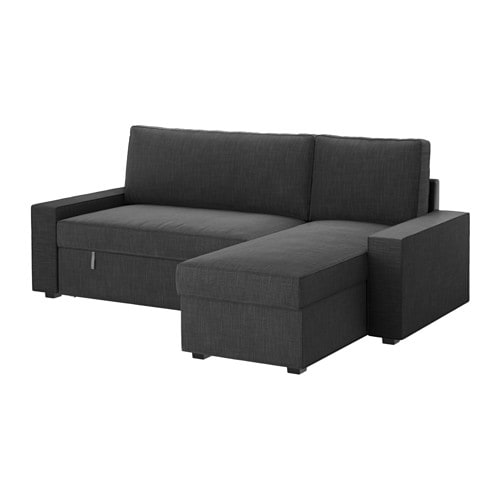 Vilasund sofa bed with chaise longue hillared anthracite for Chaise longue double sofa bed