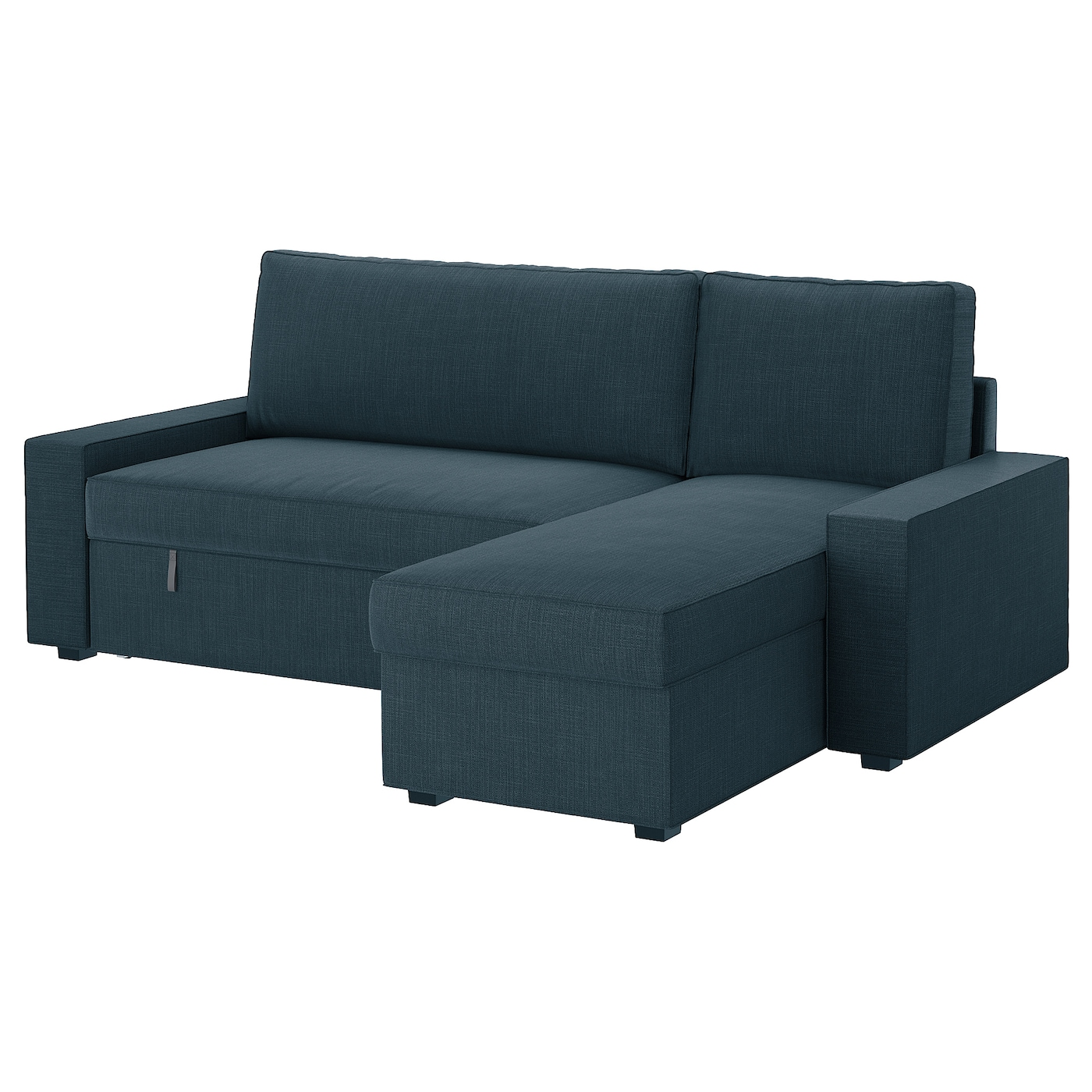 Vilasund sofa bed with chaise longue hillared dark blue ikea for Chaise 65 cm ikea
