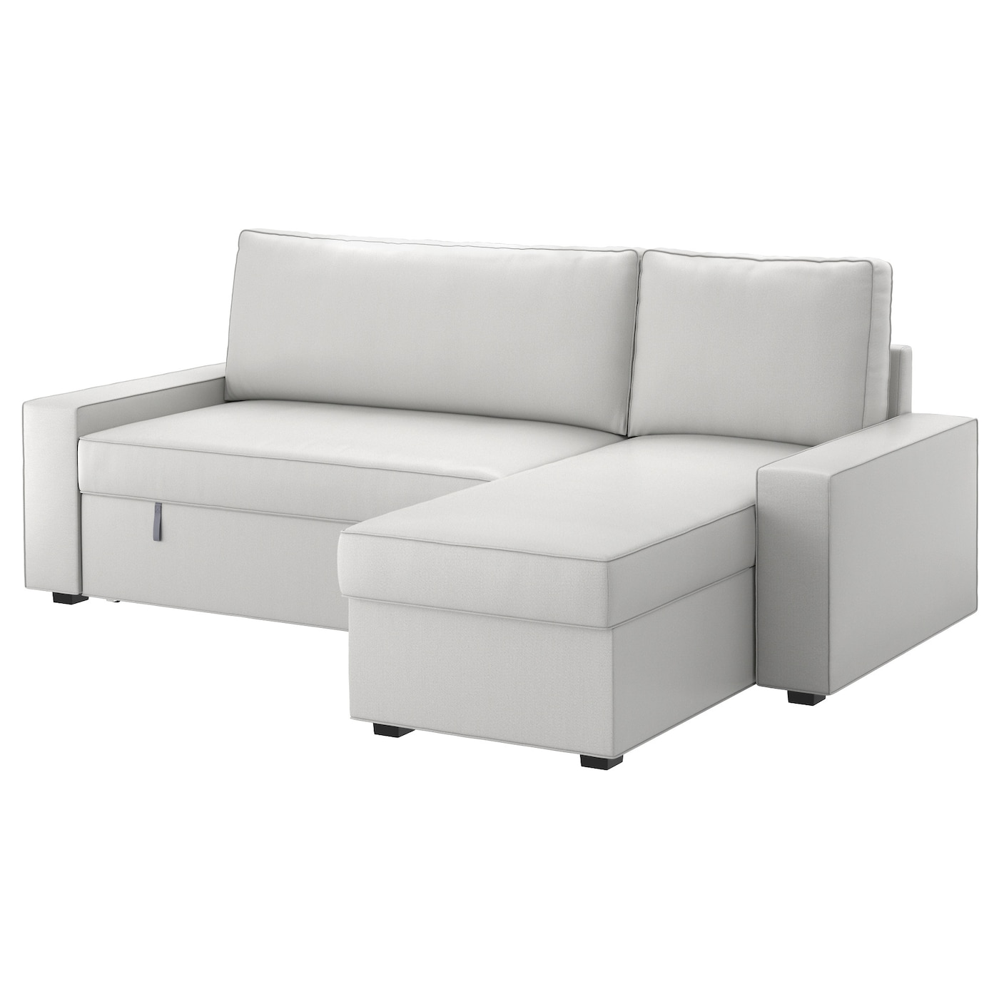 Vilasund sofa bed with chaise longue ramna light grey ikea for Chaise en osier ikea