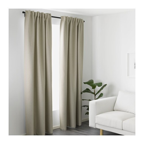 vilborg curtains 1 pair beige 145x300 cm ikea