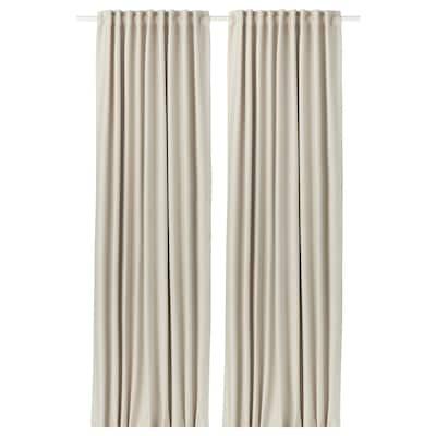 VILBORG curtains, 1 pair beige 250 cm 145 cm 2.30 kg 3.63 m² 2 pack