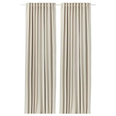 VILBORG Room darkening curtains, 1 pair, beige, 145x250 cm
