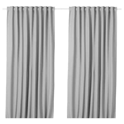 VILBORG Room darkening curtains, 1 pair, grey, 145x250 cm
