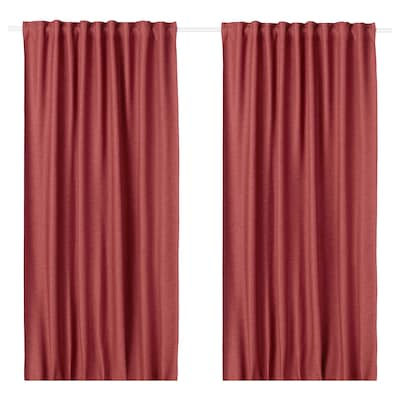 VILBORG Room darkening curtains, 1 pair, red, 145x250 cm