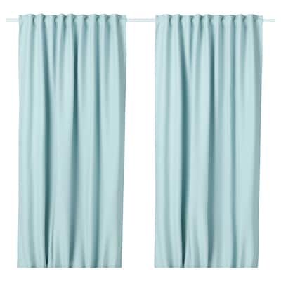 VILBORG Room darkening curtains, 1 pair, white/turquoise, 145x250 cm