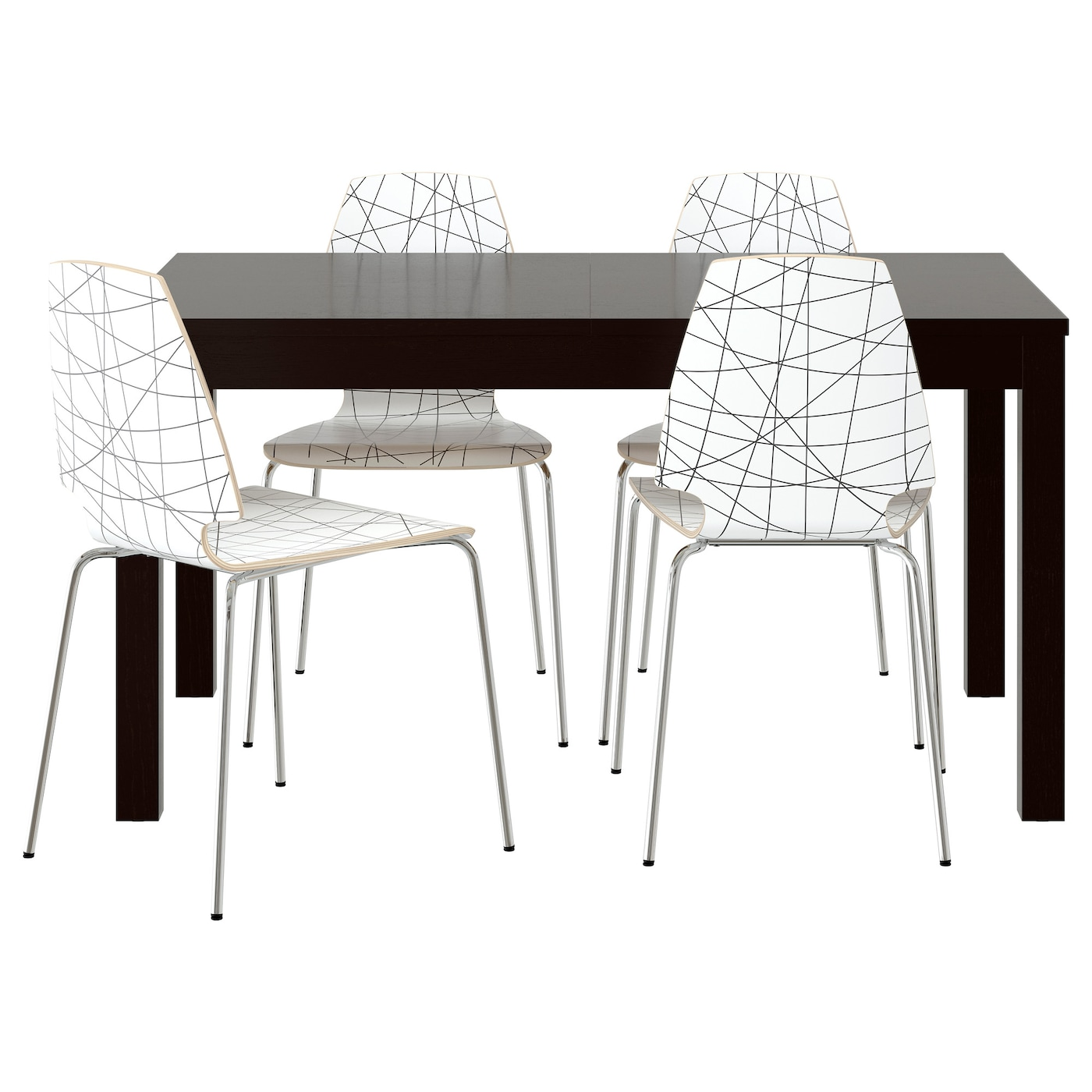 Vilmar bjursta table and 4 chairs brown black striped for Ikea dining table and chairs set