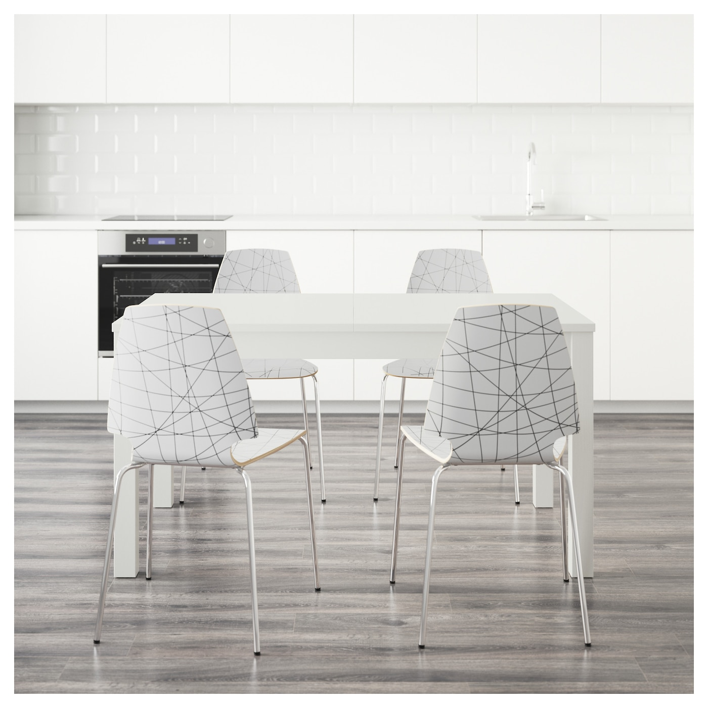 IKEA VILMAR/BJURSTA table and 4 chairs The clear-lacquered surface is easy to wipe clean.