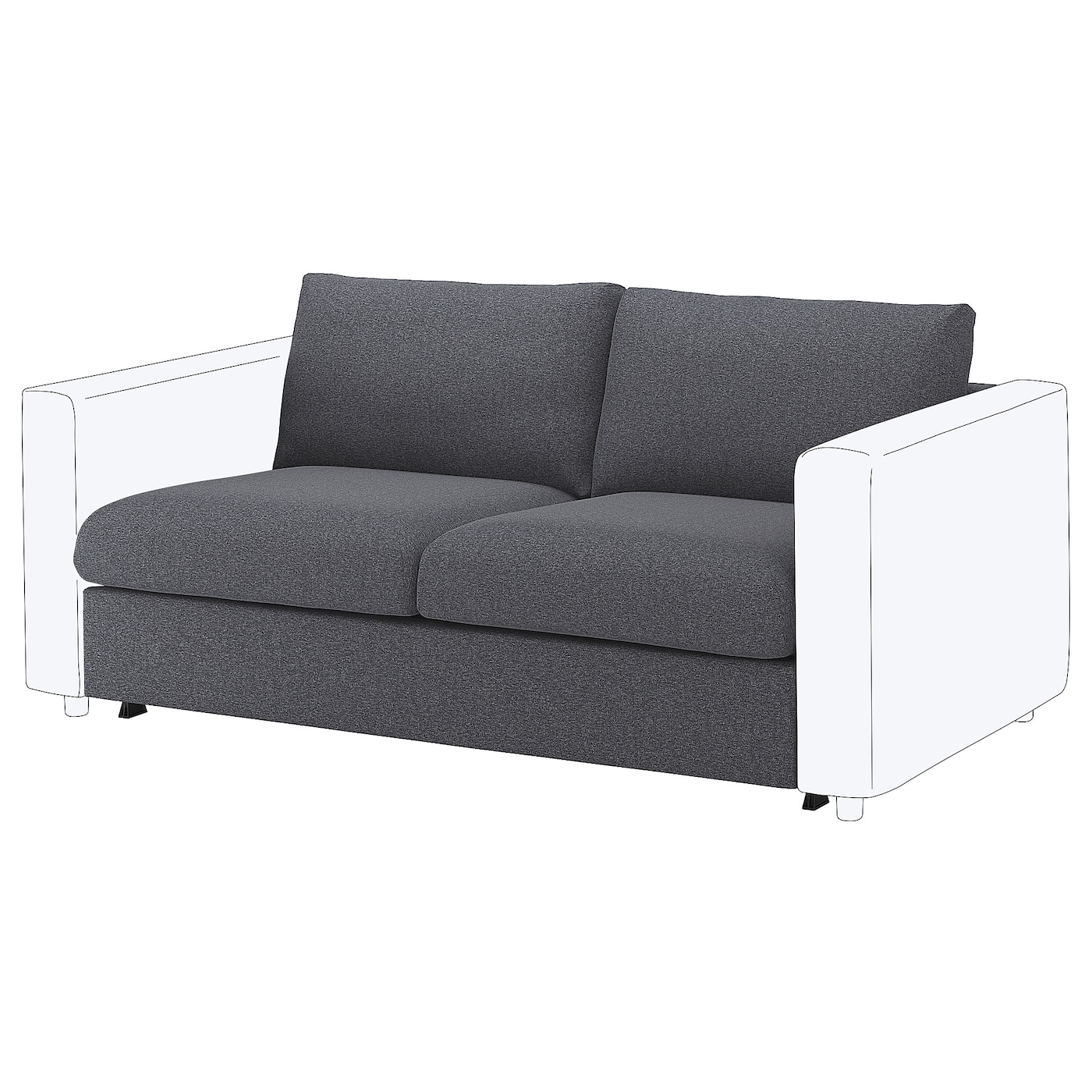 VIMLE 2-seat Sofa-bed Section Gunnared Medium Grey