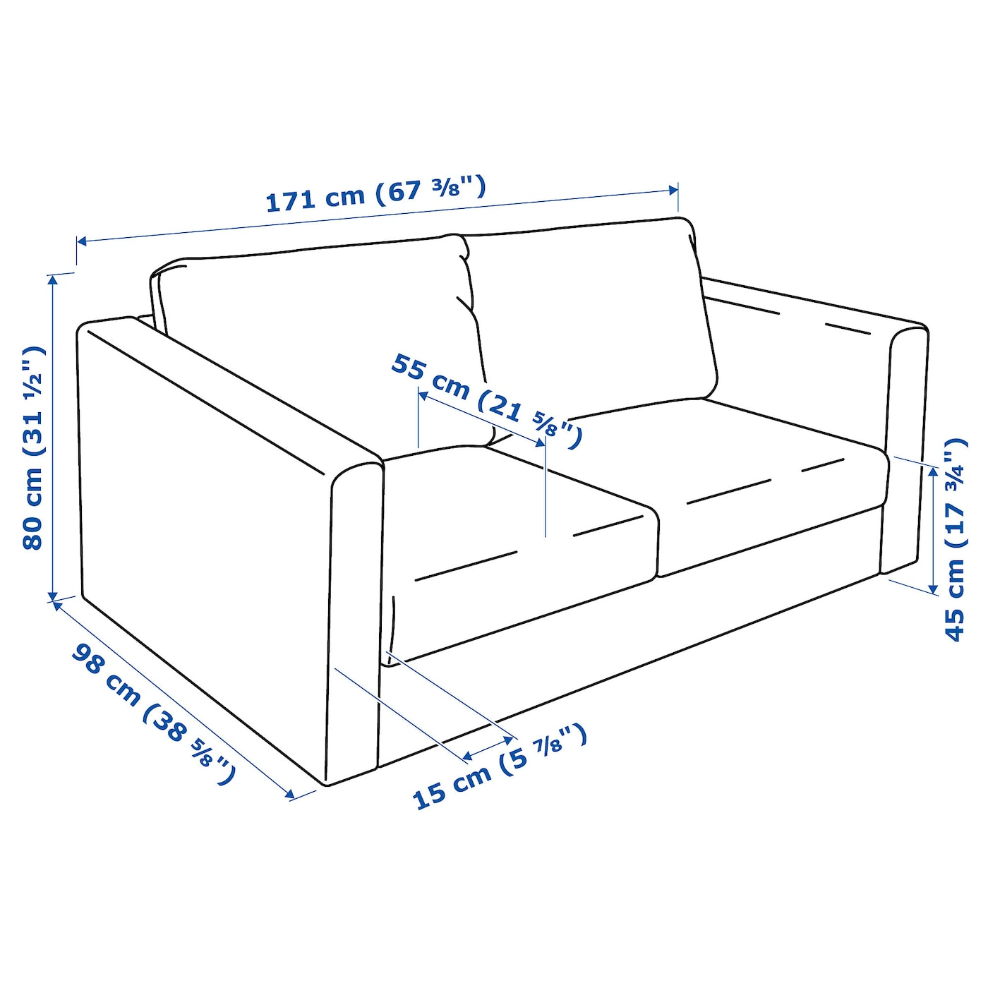IKEA VIMLE 2-seat sofa The cover is easy to keep clean since it is removable and machine washable.