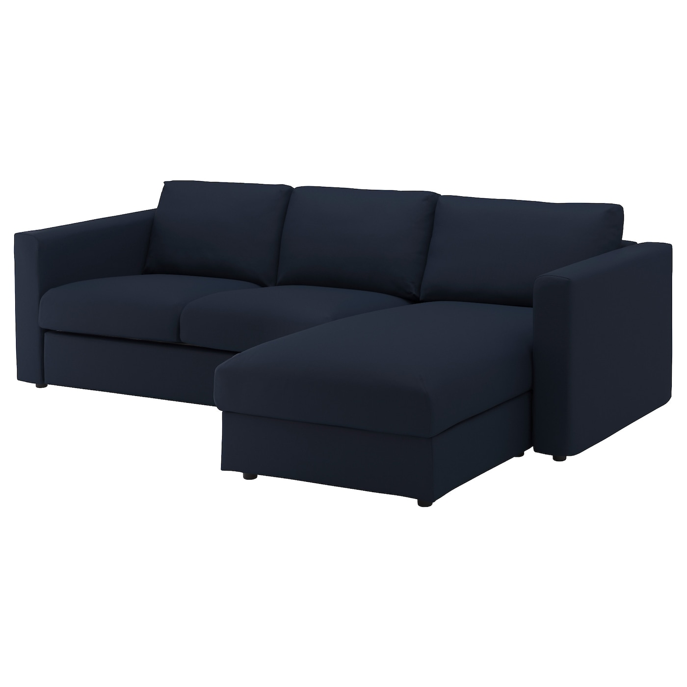 Vimle 3 seat sofa with chaise longue gr sbo black blue ikea for 3 seater couch with chaise