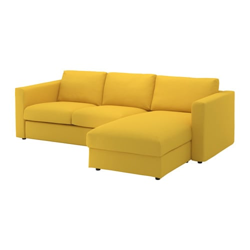 VIMLE 3-seat sofa With chaise longue/gräsbo golden-yellow ...