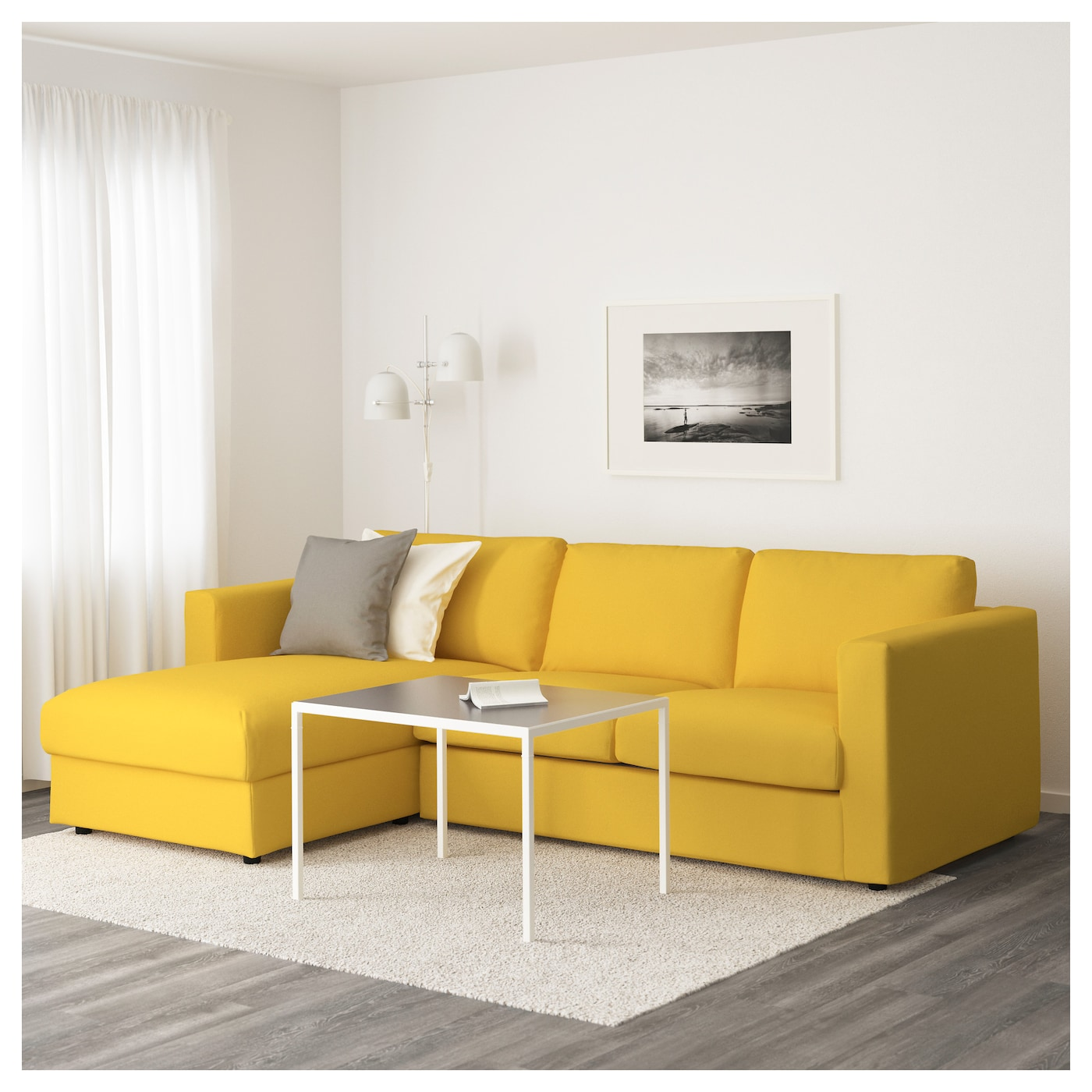Vimle 3 seat sofa with chaise longue gr sbo golden yellow - Sofas chaise longue medidas ...