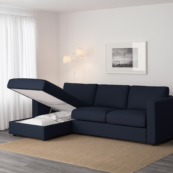 VIMLE 3-seat sofa, with chaise longue/Gräsbo black-blue