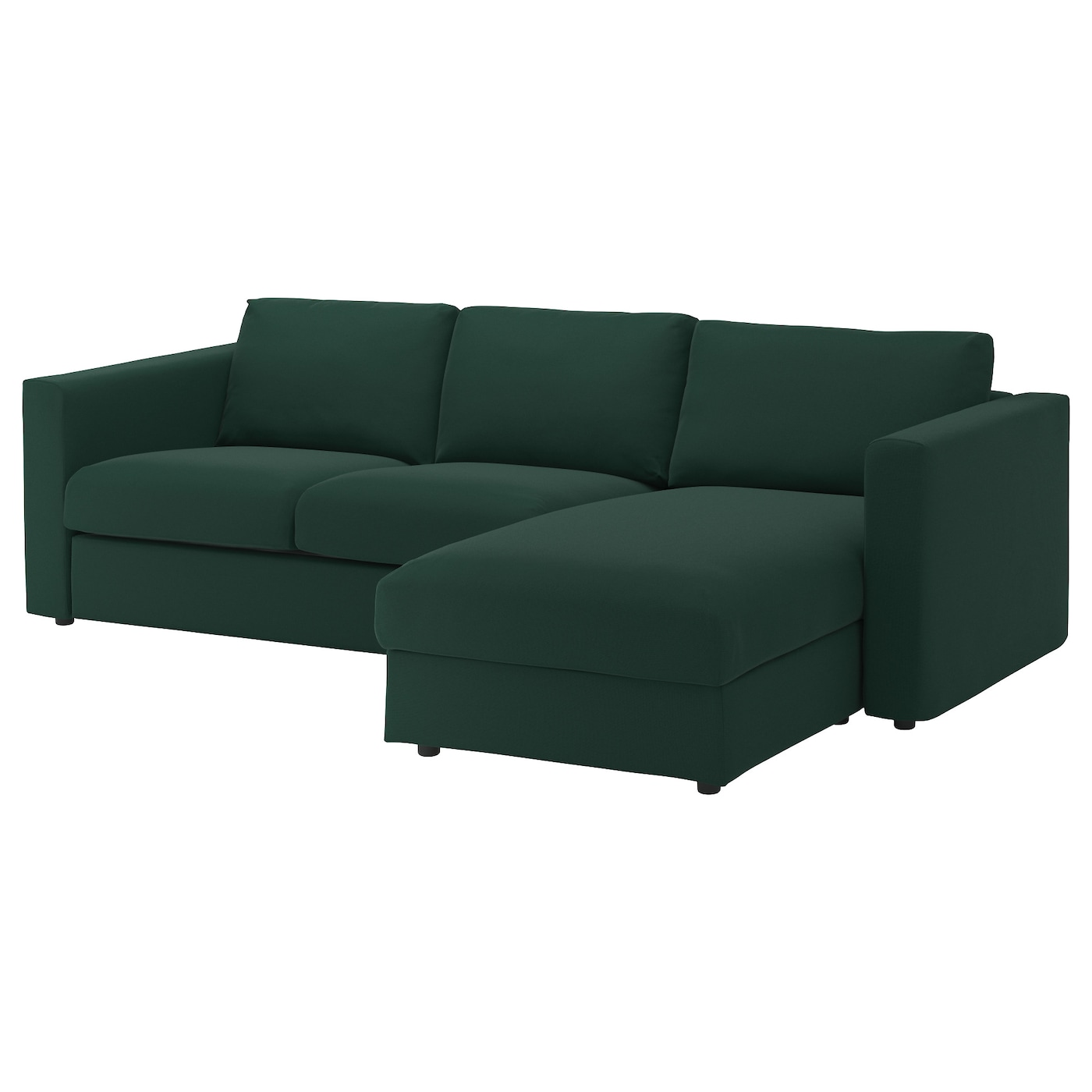 Vimle 3 seat sofa with chaise longue gunnared dark green for Chaise longue sofa