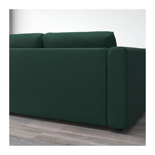 VIMLE 3 seat sofa With chaise longue gunnared dark green IKEA