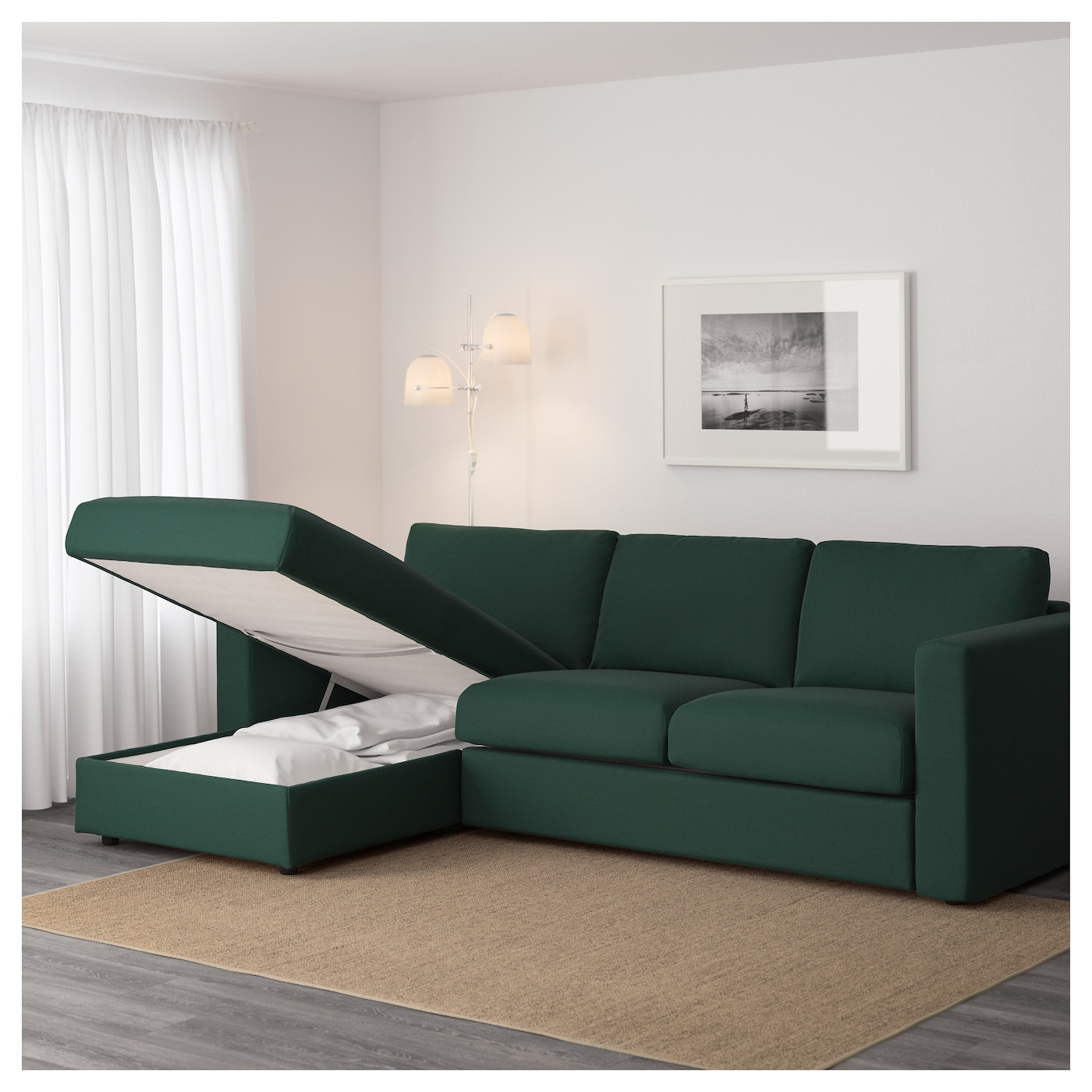 Vimle 3 seat sofa with chaise longue gunnared dark green for Green sectional sofa with chaise