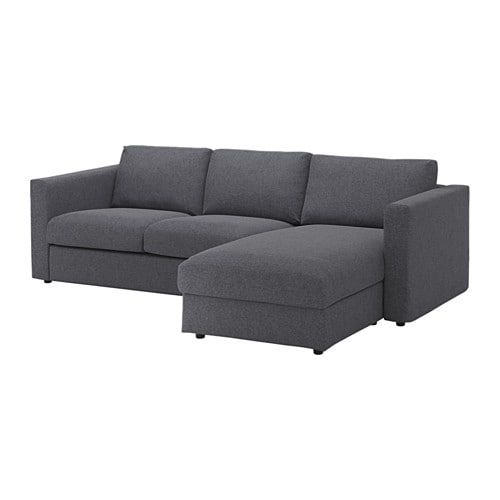 VIMLE 3-seat sofa With chaise longue/gunnared medium grey - IKEA on chaise recliner chair, chaise sofa sleeper, chaise furniture,