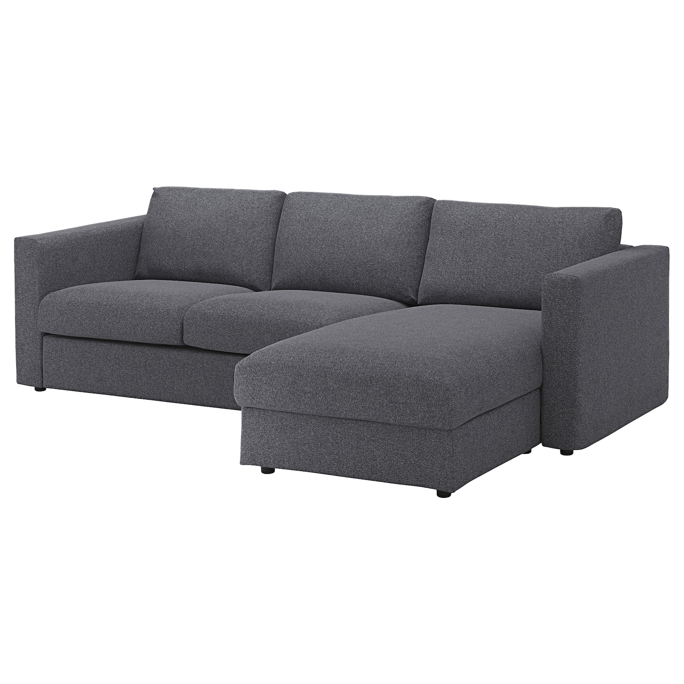 vimle 3 seat sofa with chaise longue gunnared medium grey. Black Bedroom Furniture Sets. Home Design Ideas