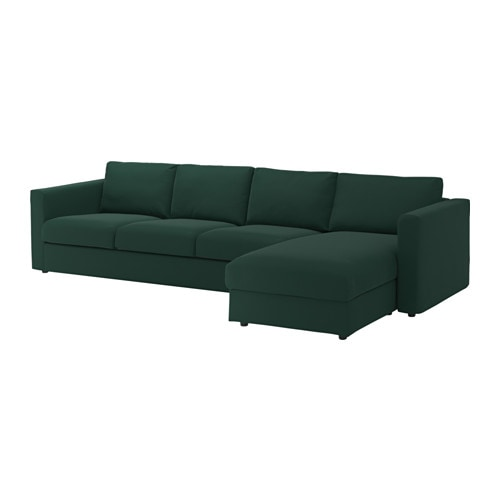 Vimle 4 seat sofa with chaise longue gunnared dark green for Chaise longue sofa