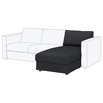 VIMLE Chaise longue section, Tallmyra black/grey