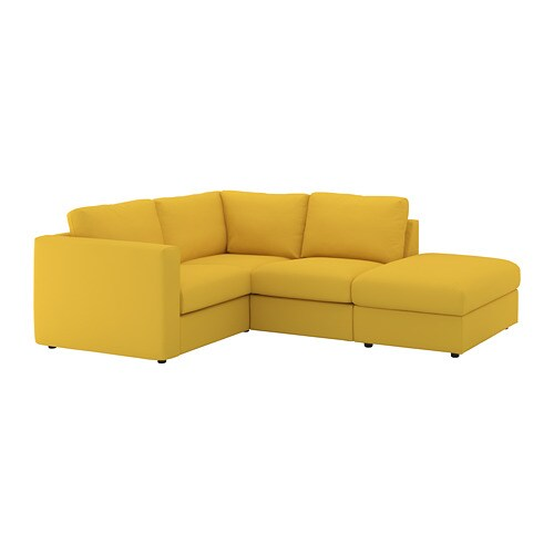 VIMLE Corner sofa, 3-seat With open end/gräsbo golden-yellow - IKEA